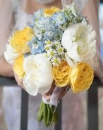 Brides N Blooms Designs, Blue, White & Yellow Bouquet
