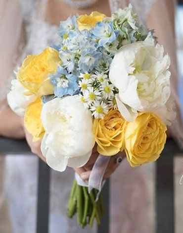Brides N Blooms Designs, Blue, White & Yellow Bouquet