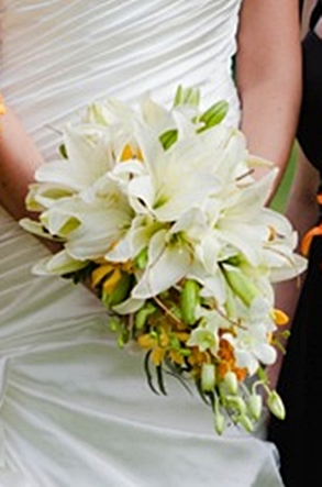 Brides Cascade Bouquet of White Lily with Orange & Yellow Dendrobium Orchid Accents and touches of Curly Willow