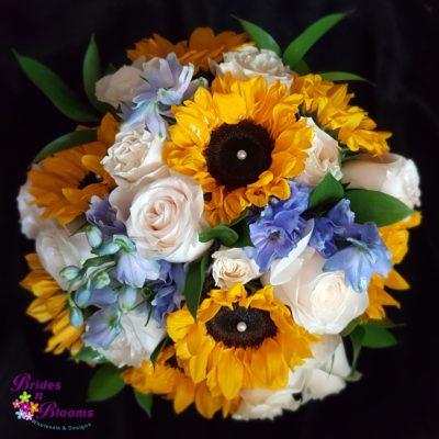 Sunflowers, Delphinium, Rose Bouquet