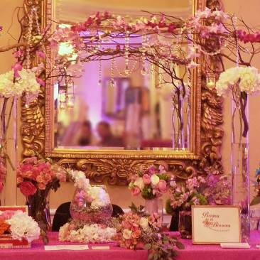 Table Decor Arch with Orchids, Curly Willow & Hydrangea