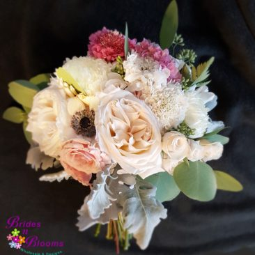 Garden Roses, Anemone, Spray Rose, Football Mums, Greenery