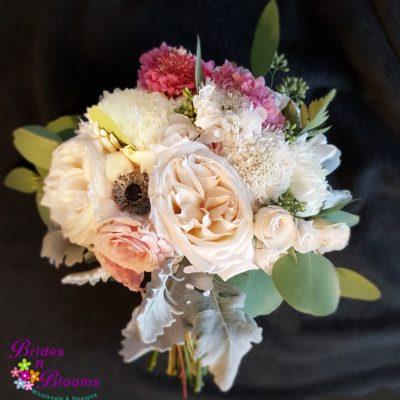 Garden Roses, Anemone, Spray Rose, Football Mums, Greenery