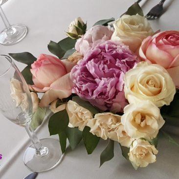 Peony & Rose Low Centerpiece