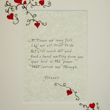 hearts and calligraphy Gift