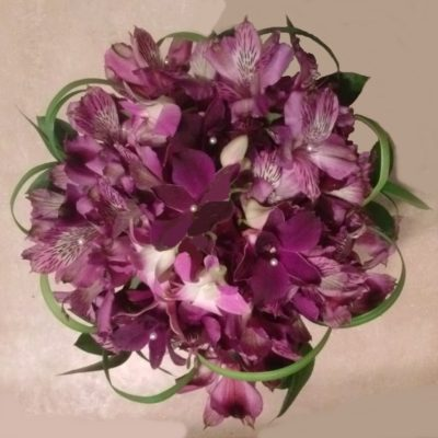 Bridal Bouquet of Purple Orchid & Alstromeria with Lily Grass Accents