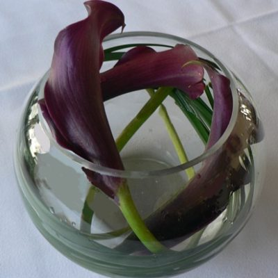 Sweet Bubble Bowl with Swirled Purple Mini Callas Centerpiece