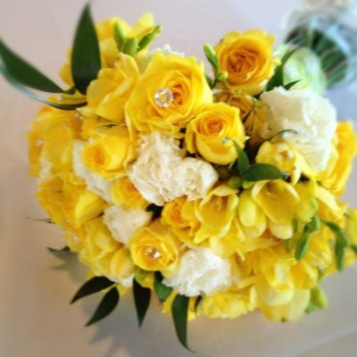 Brides Bouquet with Yellow & White Spray Roses, Yellow and White Mini Carnations