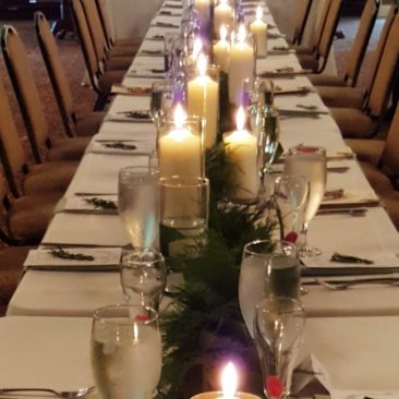 Table garland with candles