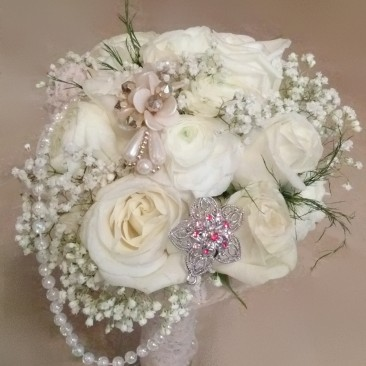 White Rose & White Ranunculus Vintage Style Wedding Bouquet with Accent Broaches, Pearl & Lace Collar