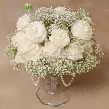 Vintage Style Rose & Babies Breath Cut Bowl Centerpiece with Draped Pearls