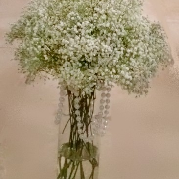 White Babies Breath and Pearl Cylinder Centerpiece