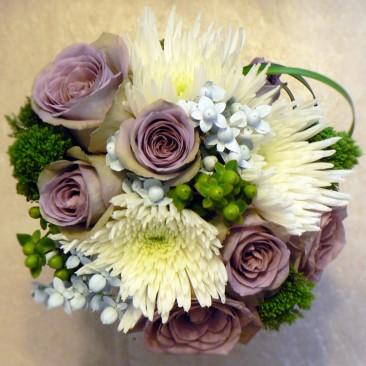 White Mums, Lavendar Roses, Green & White Hypericum Berry, Green Trachilium, Lily Grass