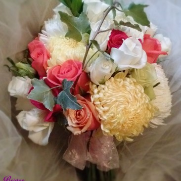 Ivy Caged Brides Bouquet with Coral, Pink & White Roses with Yellow & White Mums