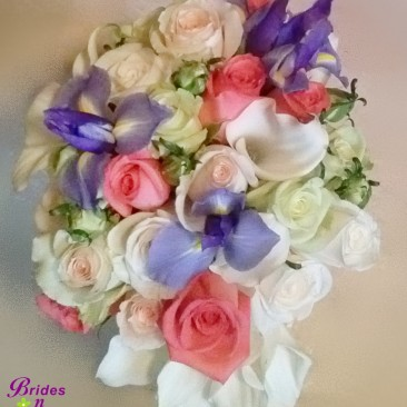 Teardrop Style Wedding Bouquet in Coral, White, Green & Purple