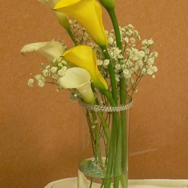 Yellow & White Mini Calla Medium size Table Centerpiece