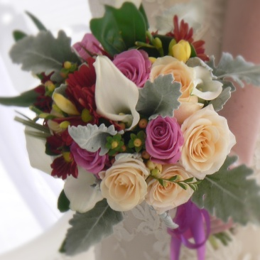 Mixed Flowers & Dusty Miller bouquet