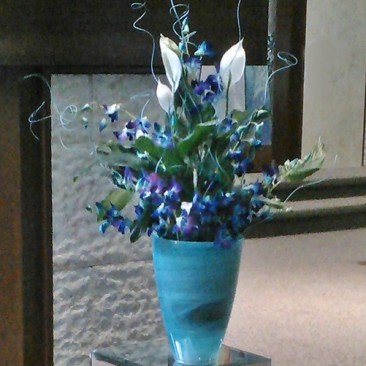Blue Bar Mitzvah Bimah Flowers