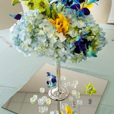 Blue Hydrangea w/ Green, Blue & Yellow Orchids