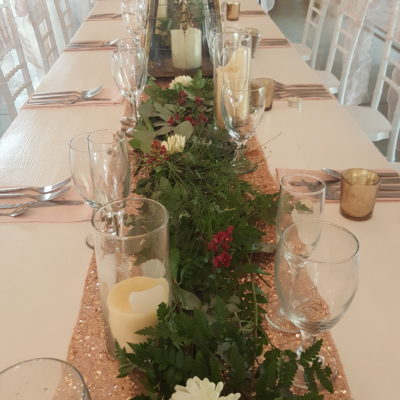 Greenery Tables w/Flowers