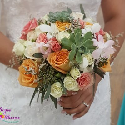 Succulents, Roses, Spray Roses, Orchids & Greenery bouquet
