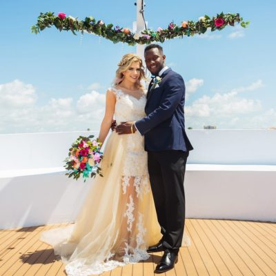Wedding on Ship with Mast Garland